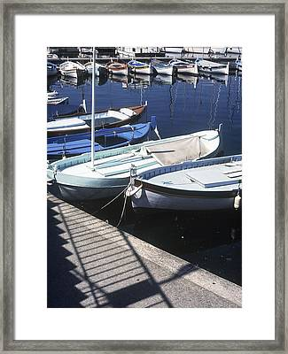 Boats In Harbor Framed Print by Axiom Photographic