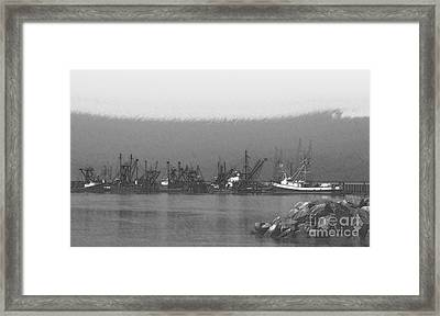 Boats In Harbor Charcoal Framed Print by Chalet Roome-Rigdon