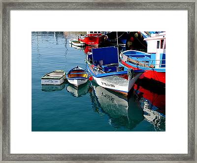 Boats In Los Christianos Framed Print by Barbara Walsh
