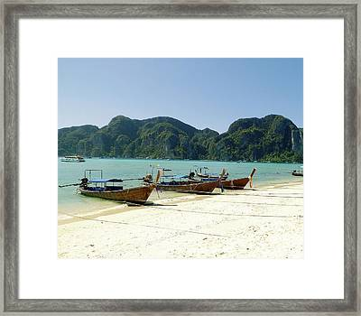 Boats In Row Framed Print by Gitpix