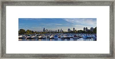 Boats In The Harbor In Chicago Framed Print by Twenty Two North Photography