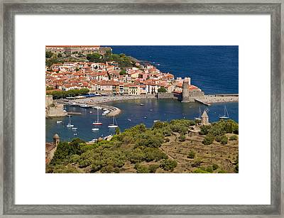 Boats In The Harbor Of Collioure Framed Print by Michael Melford