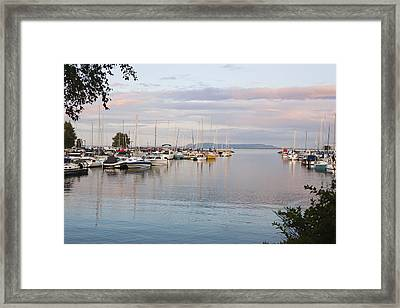 Boats In The Harbour At Sunset Thunder Framed Print