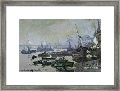 Boats In The Pool Of London Framed Print by Claude Monet