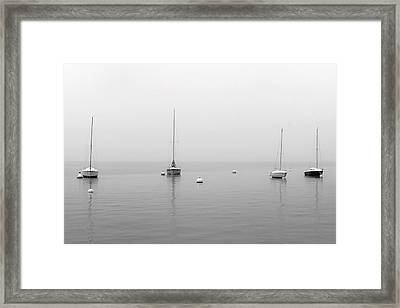 Boats In The Snow Framed Print
