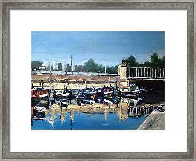 Boats Of Regent's Canal  London Uk Framed Print by Victor SOTO