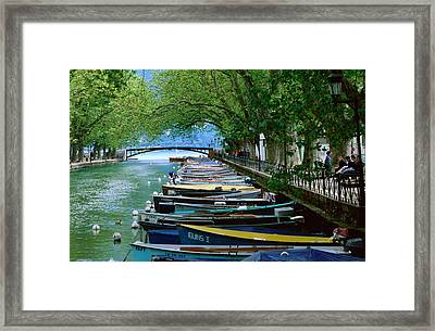 Boats On Canal Du Vasse, Annecy, Rhone-alpes, France, Europe Framed Print by John Elk III