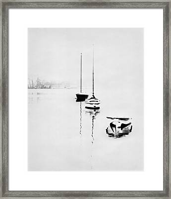 Boats On Foggy Lake Lucerne Framed Print