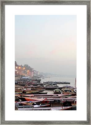 Boats On Ganges River In Morning Framed Print by Jessica Solomatenko