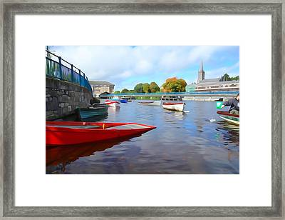 Framed Print featuring the photograph Boats On The Garavogue by Charlie and Norma Brock