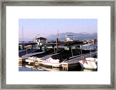 Boats On The Lake Framed Print by Anne Raczkowski