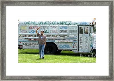 Bob And The Kindness Bus Framed Print by Art Dingo