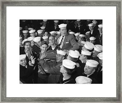 Bob Hope Entertaining Sailors Framed Print by Everett