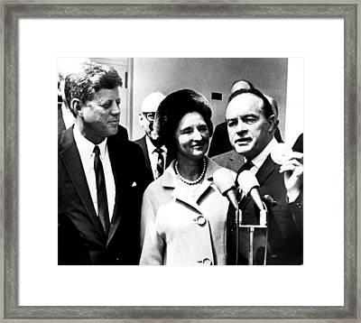 Bob Hope Receiving Medal From President Framed Print