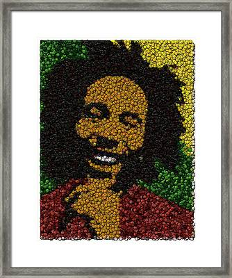 Bob Marley Bottle Cap Mosaic Framed Print by Paul Van Scott