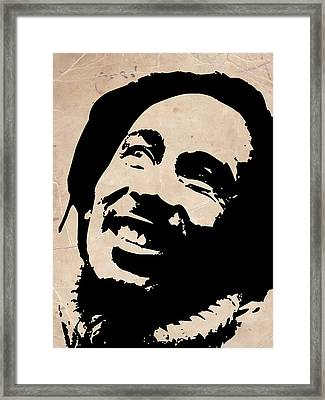 Bob Marley Grey And Black Framed Print