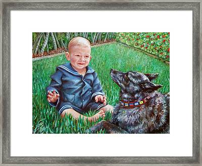 Framed Print featuring the painting Bobby And Cinder by Nancy Tilles