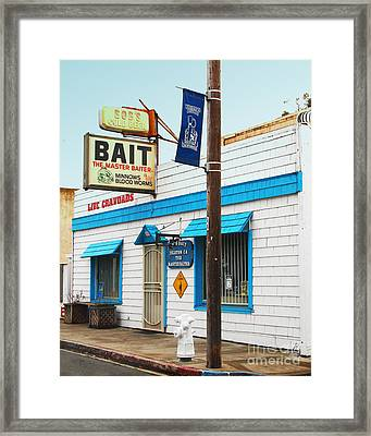Bobs Bait Shop In Isleton California . The Master Baiter Framed Print by Wingsdomain Art and Photography