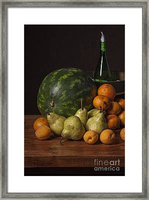 Bodegon - Watermelon-pears And Cooler Framed Print by Levin Rodriguez
