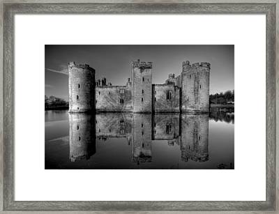 Bodiam Castle In Mono Framed Print by Mark Leader