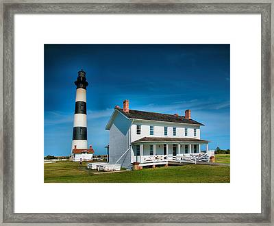 Bodie Island Lighthouse And Keepers Quarters Framed Print by Steven Ainsworth