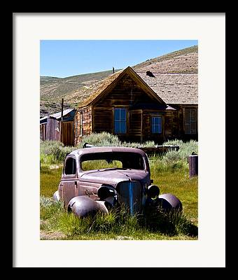 Old Car At Bodie Framed Prints