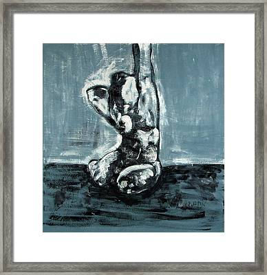 Bold Expressionistic Figure Painting Of Nude Female Reaching Upward To The Sky With Her Arm In Bw Framed Print