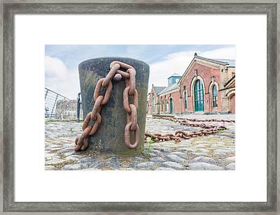 Bollard And Chain Framed Print by Semmick Photo