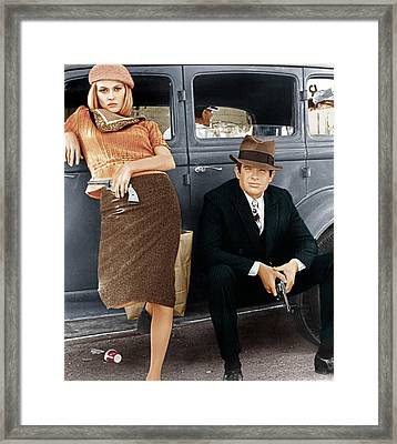 Bonnie And Clyde, From Left Faye Framed Print