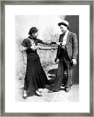 Bonnie Parker And Clyde Barrow, 1933 Framed Print by Everett