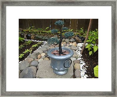 Bonsai Tree Medium Silver Vase Framed Print by Scott Faucett