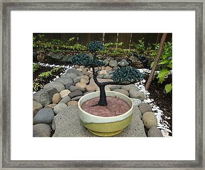 Bonsai Tree Medium Two Tone Round Framed Print by Scott Faucett
