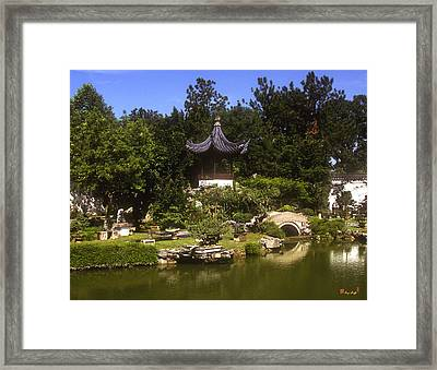 Framed Print featuring the photograph Bonzai Garden And Gazebo 19l by Gerry Gantt