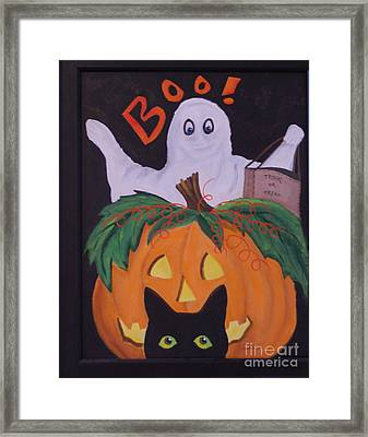 Boo-happy Halloween Framed Print by Janna Columbus