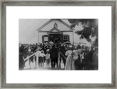 Booker T. Washington Addressing Crowd Framed Print by Everett