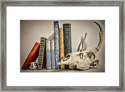 Books And Bones Framed Print by Heather Applegate