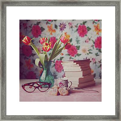 Books And Tulips Framed Print