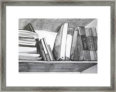 Framed Print featuring the painting Books On A Shelf by Jan Swaren