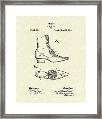 Boot Design 1896 Patent Art Framed Print by Prior Art Design