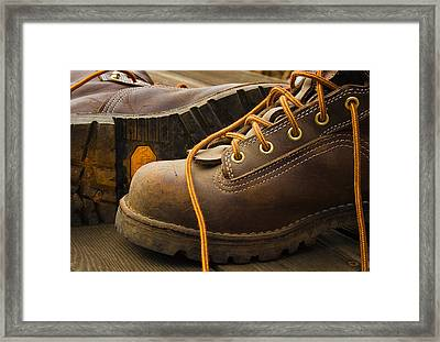 Boots Made For Working Framed Print by Jean Noren