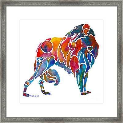 Borzoi Painting  Framed Print by Jo Lynch