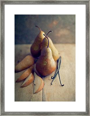 Bosc Pears And Vanilla Beans Framed Print by Anna Hoychuk