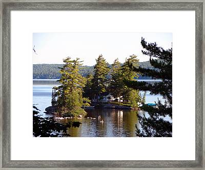 Boshkung Lake Island Cottage Framed Print