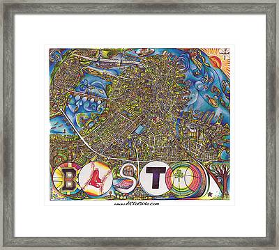 Boston Art Map Framed Print by Jonathan 'DiNo' DiNapoli