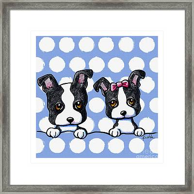 Boston Babies On Blue Framed Print by Kim Niles