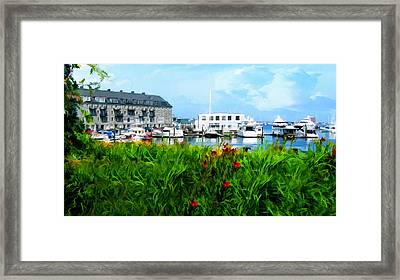 Boston Scene- Boston City Art Framed Print by Lourry Legarde