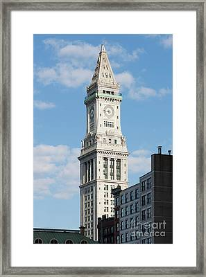 Boston Custom House Tower Framed Print by Clarence Holmes