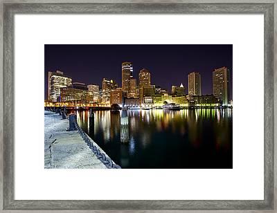 Boston Harbor Nightscape Framed Print