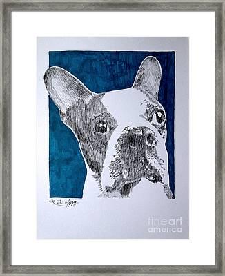 Boston In Blue Framed Print by Robbi  Musser