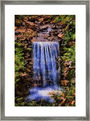 Framed Print featuring the digital art Botanical Garden Falls by Lynne Jenkins